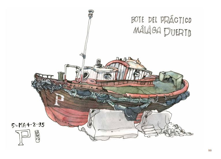 Dessin d'un bateau Bote del pratico Malaga Puerto.