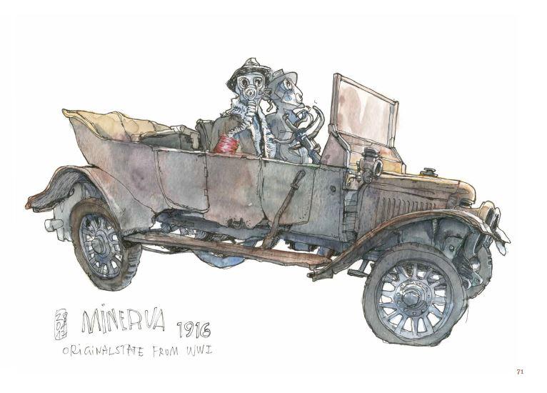 Ce qui reste du voyage de Jorg Asselborn, une vieille automobile.