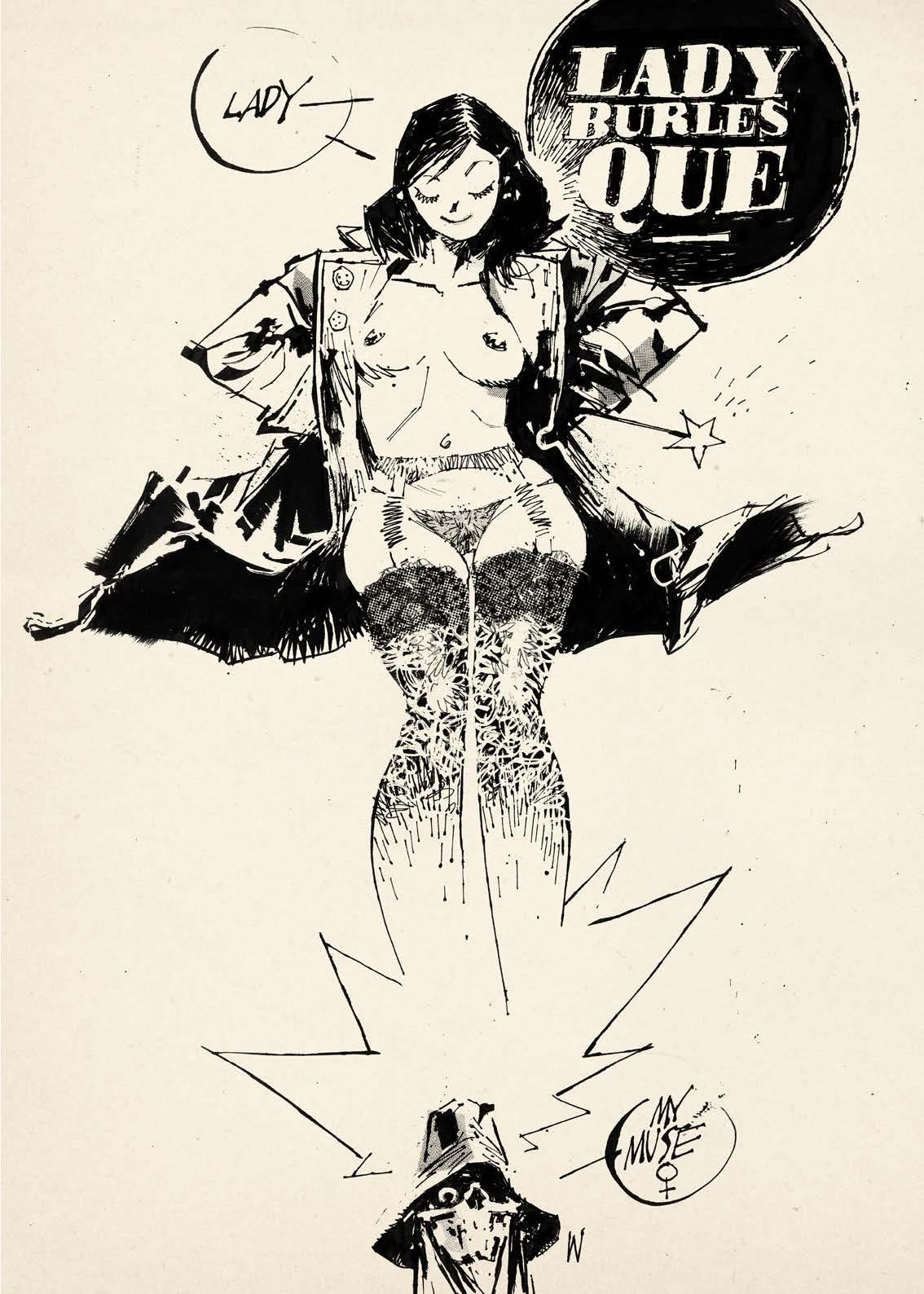 Muse de la mort en petite tenue : porte-jarretelles et trench ouvert.