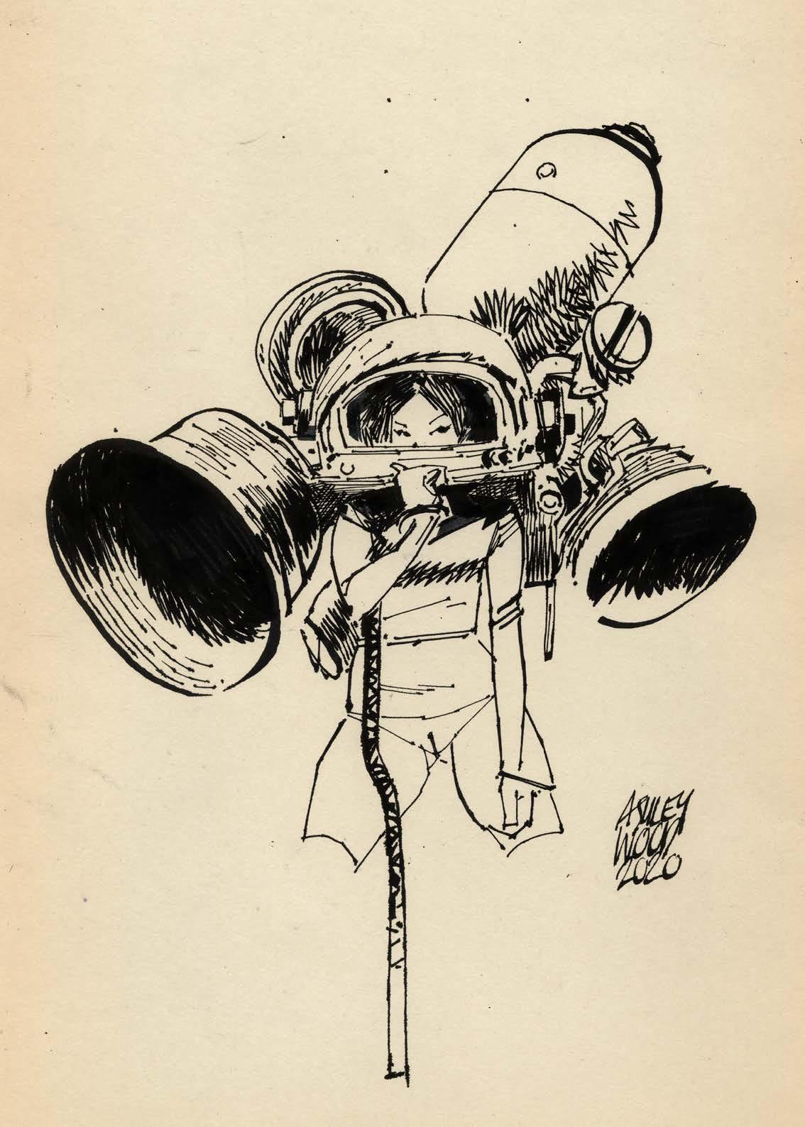 Ashley Wood - AWD XL BLACK - Une femme enfile son casque à propulsion.