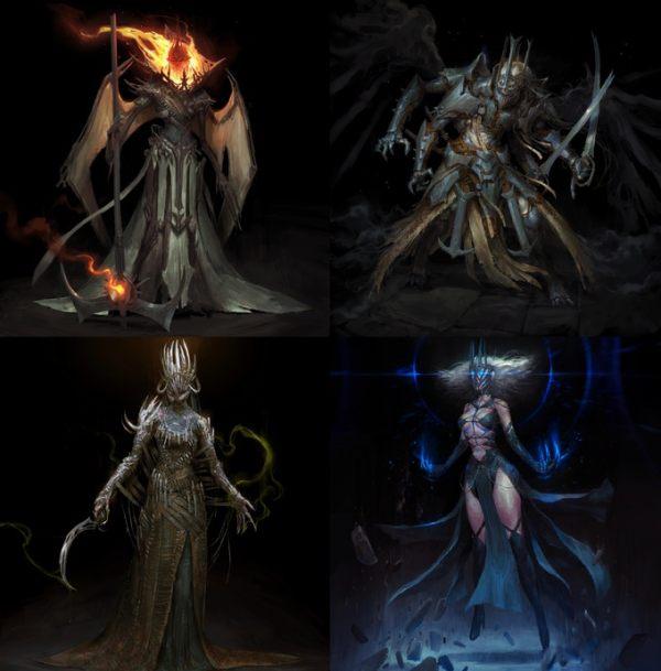 Quatres créatures de la nuit, conçus par l