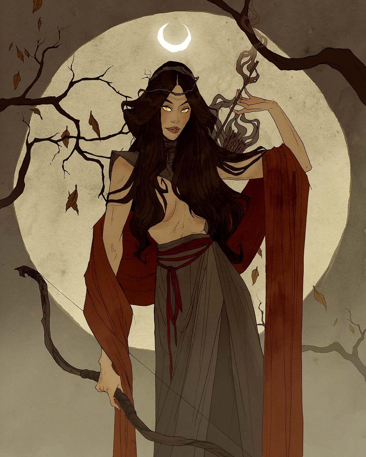 Image de l'artbook Crimson d'Abigail Larson : la lune chasseresse de Diana.