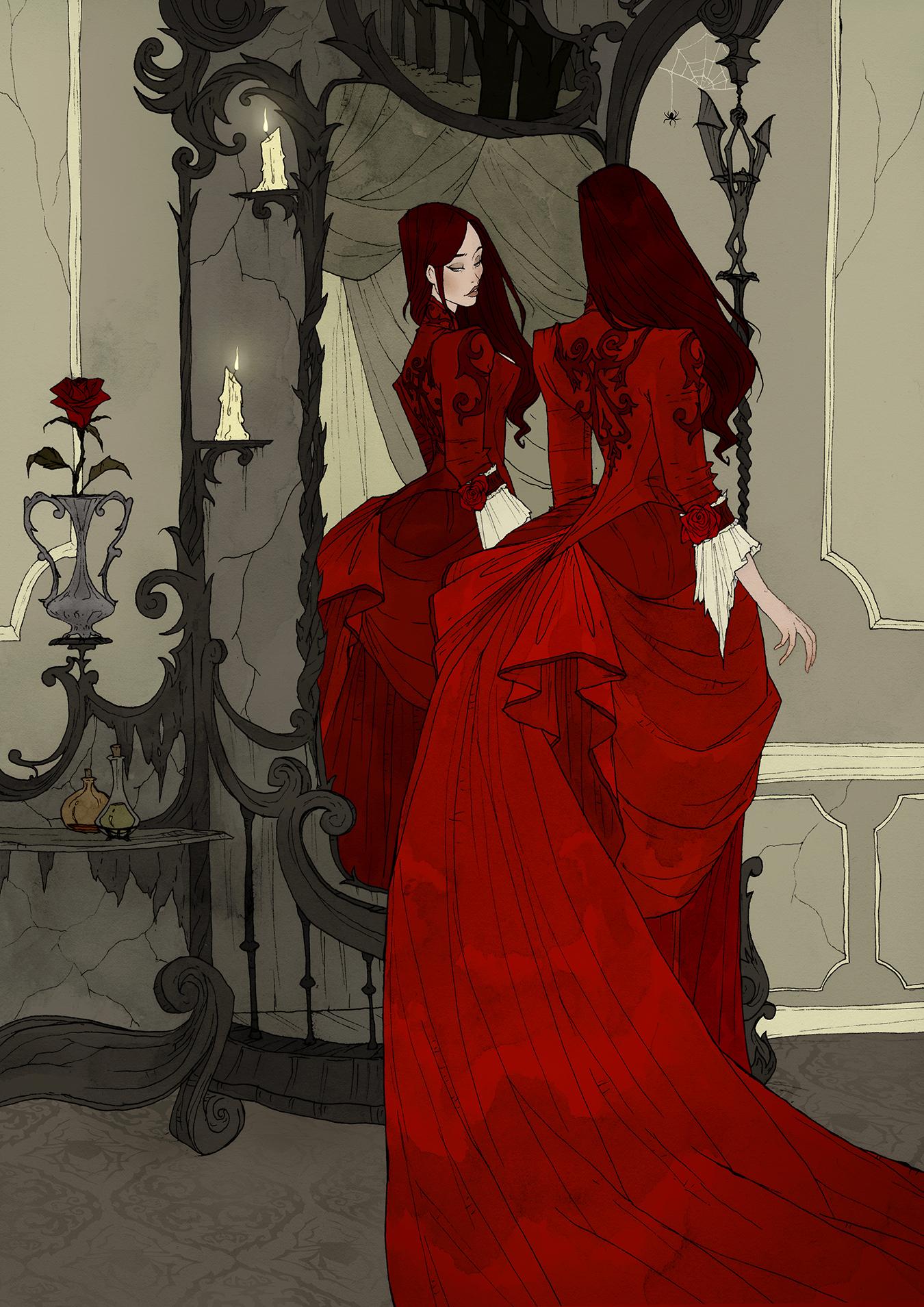 Crimson d'Abigail Larson : une femme en robe rouge se regarde dans un miroir, parmi les bougies et les roses rouges.