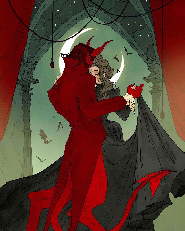 Image de l'artbook Crimson d'Abigail Larson : danser avec le diable.