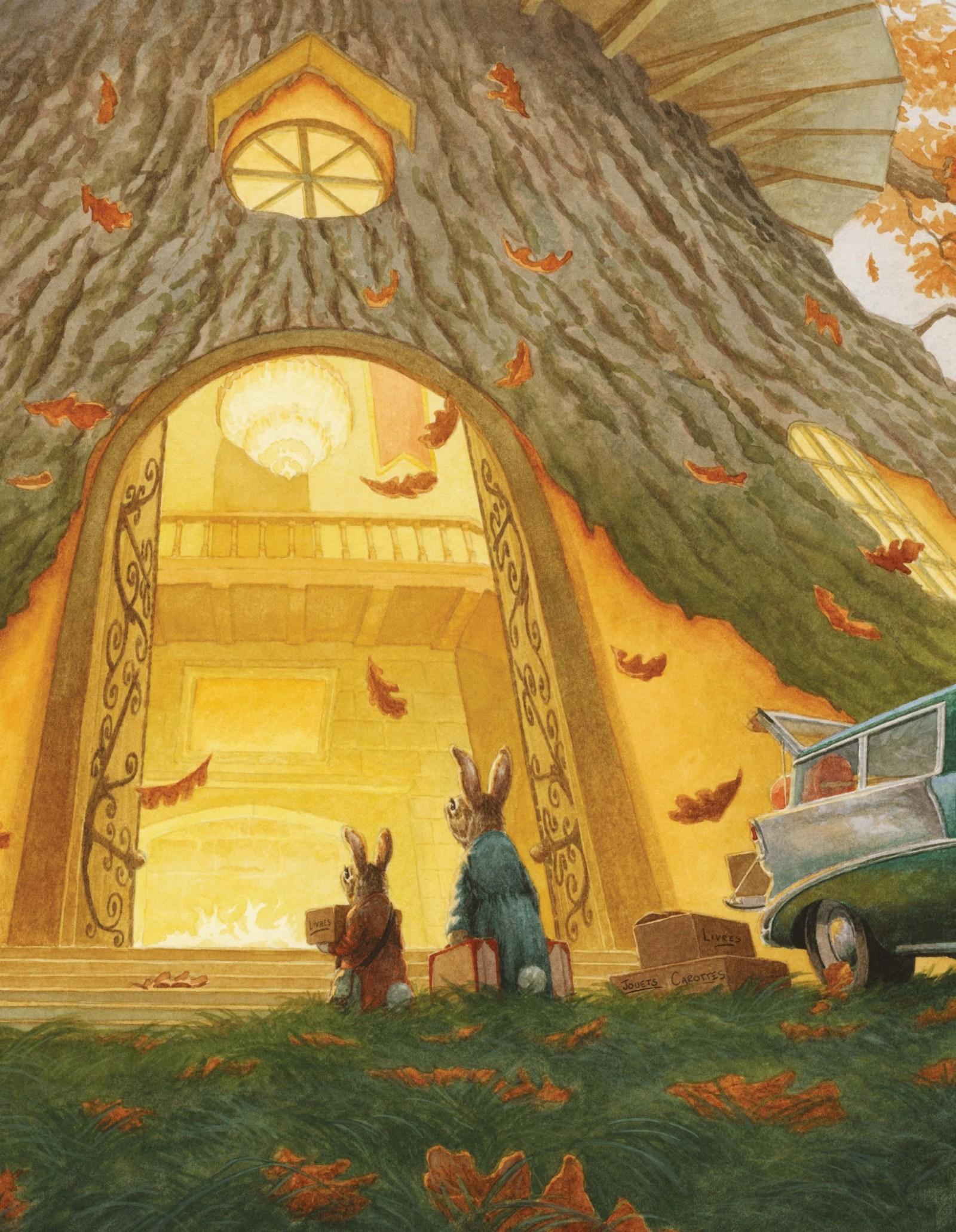 La famille de Léa Lapin emménage dans la grande et belle cabane.