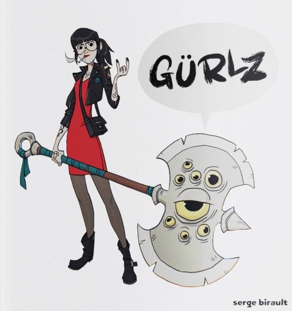 Couverture de l'artbook Gürlz de Serge Birault. Une femme rock avec une très grosse arme.
