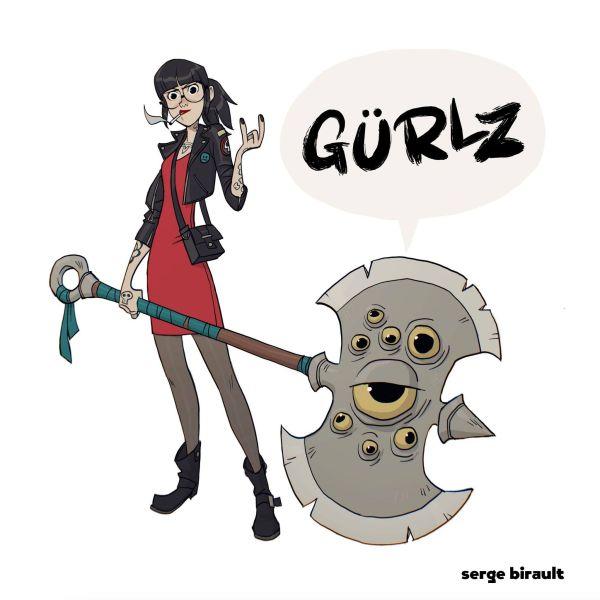 Couverture'artbook Gürlz de Serge Birault : des femmes trop cools avec des armes