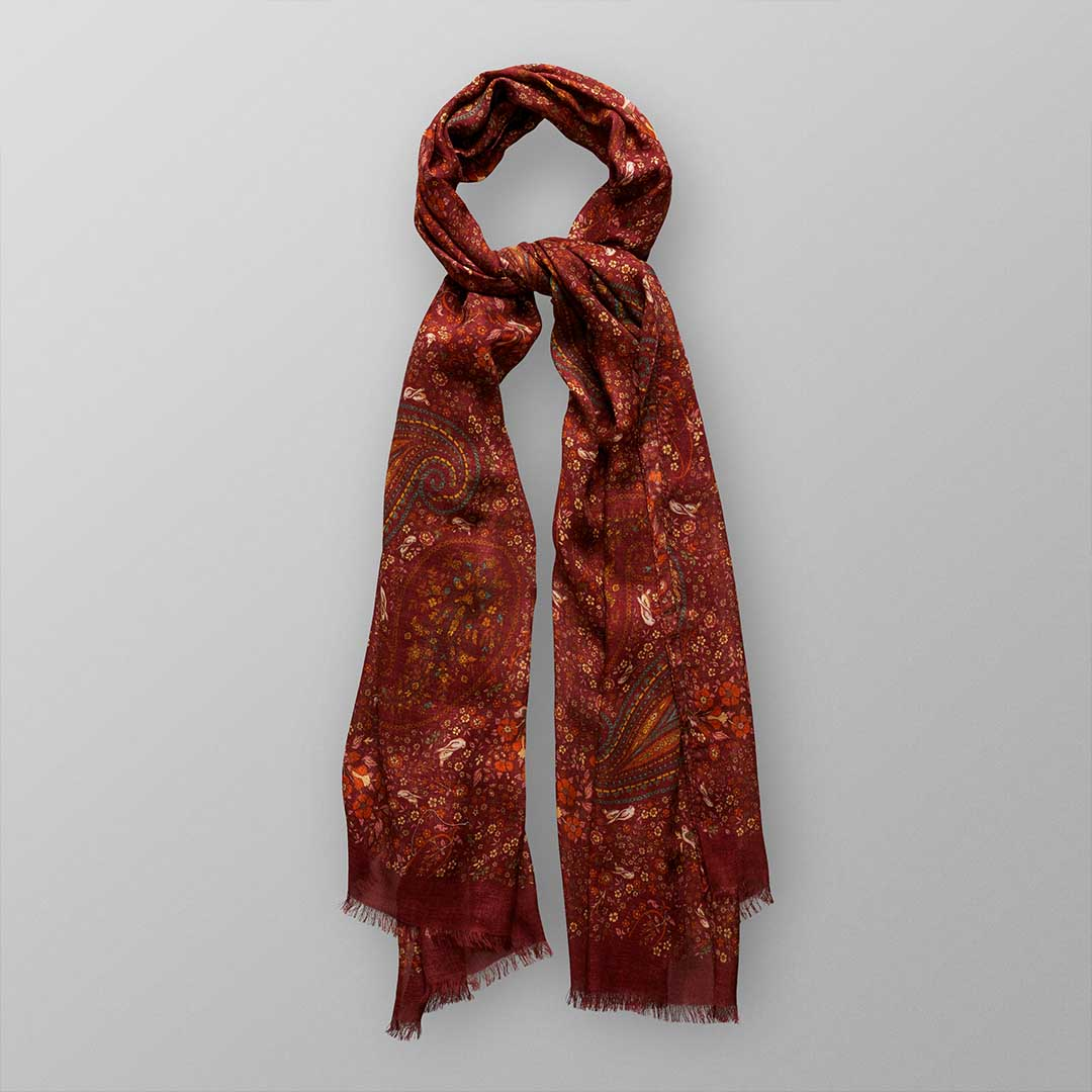 red paisley modal wool scarf 2