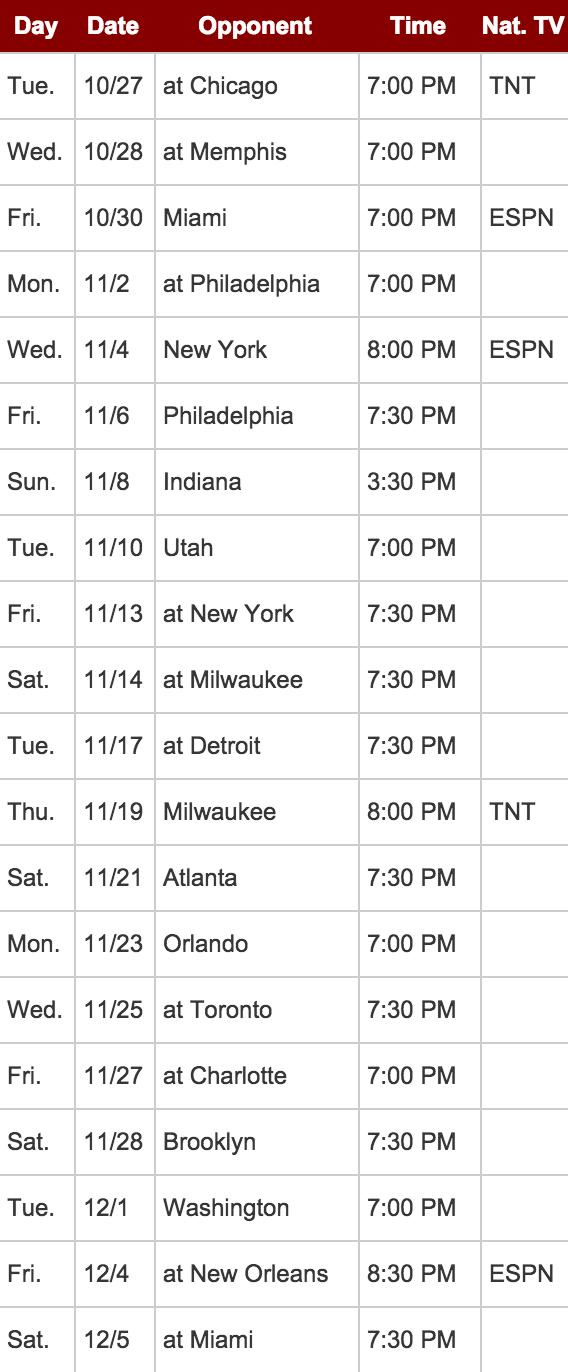 Cleveland Cavaliers Regular Season Schedule for 2015-2016