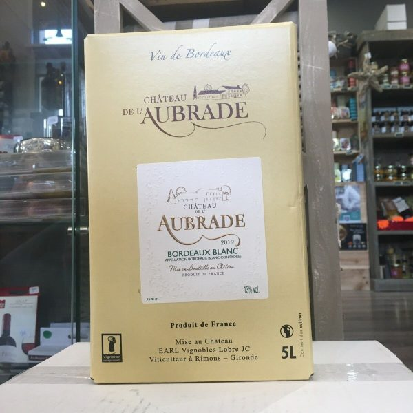 bib aubrde nblanc rotated - BIB Ch. de l'Aubrade blanc - Bordeaux 5 L