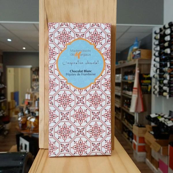TABLETTE BLANC rotated - Mademoiselle de Margaux - Chocolat blanc pépites de framboise 100gr