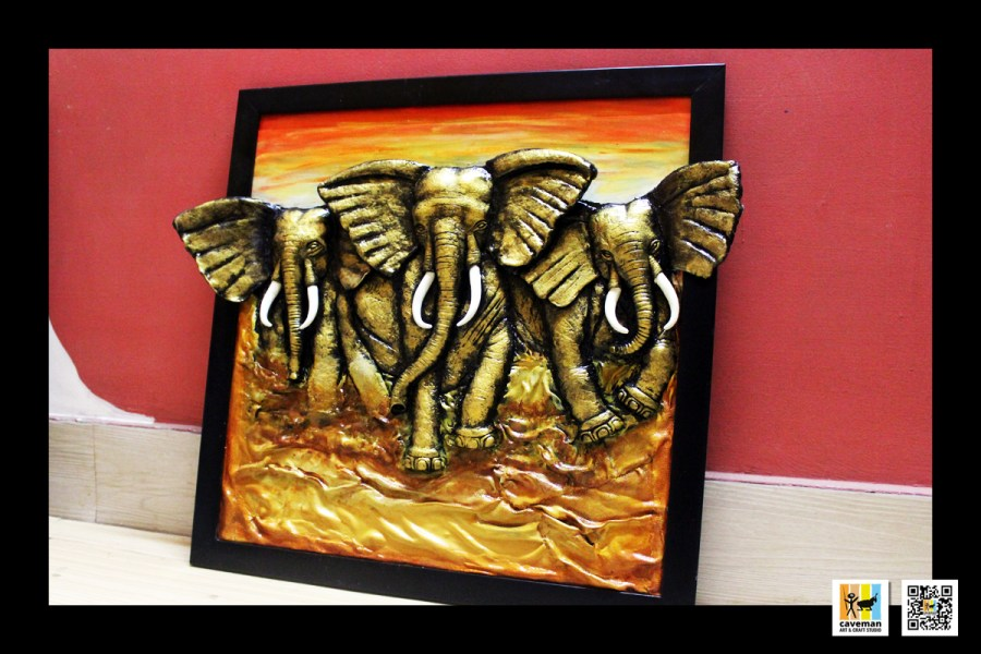 beautiful elephant mural art work