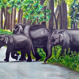 Elephant group - Water color painting