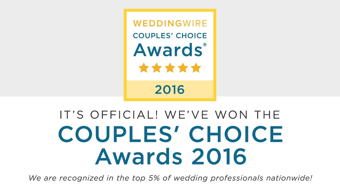 Wedding Wire Couples Choice award for Reviews and Testimonials