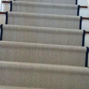 Bespoke Carpet Stair Runners London Supply Fit Install | Grey Herringbone Carpet Stairs | Antelope | Victorian | Middle Stair | Roger Oates | Blue
