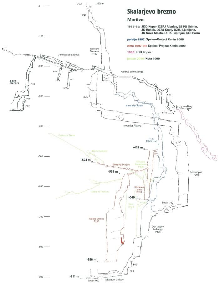 Map of Skalarjevo brezno cave