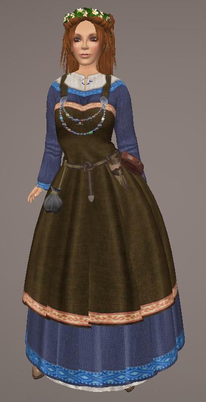 Viking Apron Gown BLUE01