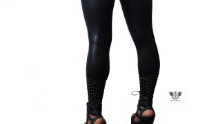 Gold Studded Wet black Leggings close
