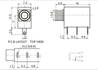 3.5mm mono Audio Jack horizontal