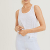 Sheer Striped Mesh Pinched Back Racer Tank- Front