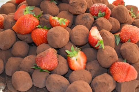 Truffel med jordgubbar