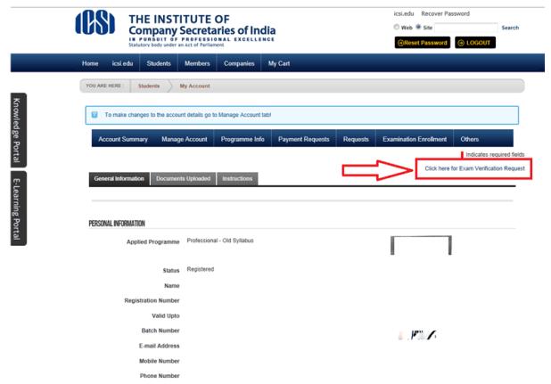 CS Exam Verification of Marks Executive Professional - 1