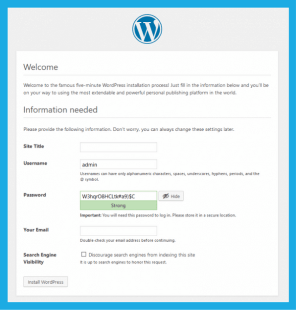 WordPress Setup Page