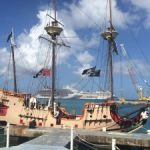 Pirate ship runs aground in bad weather
