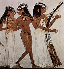 Image from wikipedia,  Musicians of Amun, Tomb of Nakht, 18th Dynasty, Western Thebes.