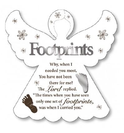 Footprints Angel White Plaque.  Caz-Cards Leitrim, Ireland