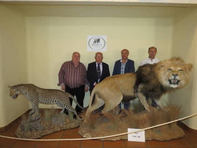 Ramón Medina, Gregorio Medina, Jesús Medina y Gregorio Medina Jr. con un leopardo y un león naturalizados en su taxidermia.