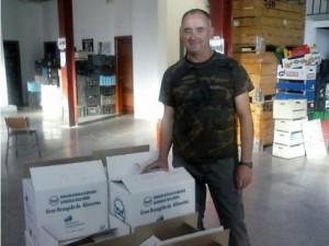Momento de la entrega de la carne por parte de la S.C. Campo Dauro a la Federación de Bancos de Alimentos. © FAC.