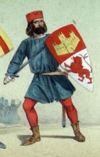 Montero de Espinosa en un dibujo realizado por el Conde de Clonard en su obra Álbum de Infantería Española.