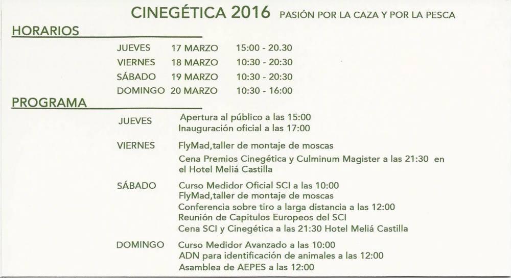 horarios cinegetica 2016