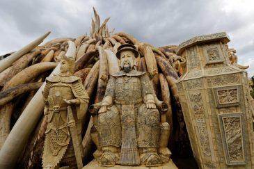 More ivory statues. Photograph: Daniel Irungu/EPA