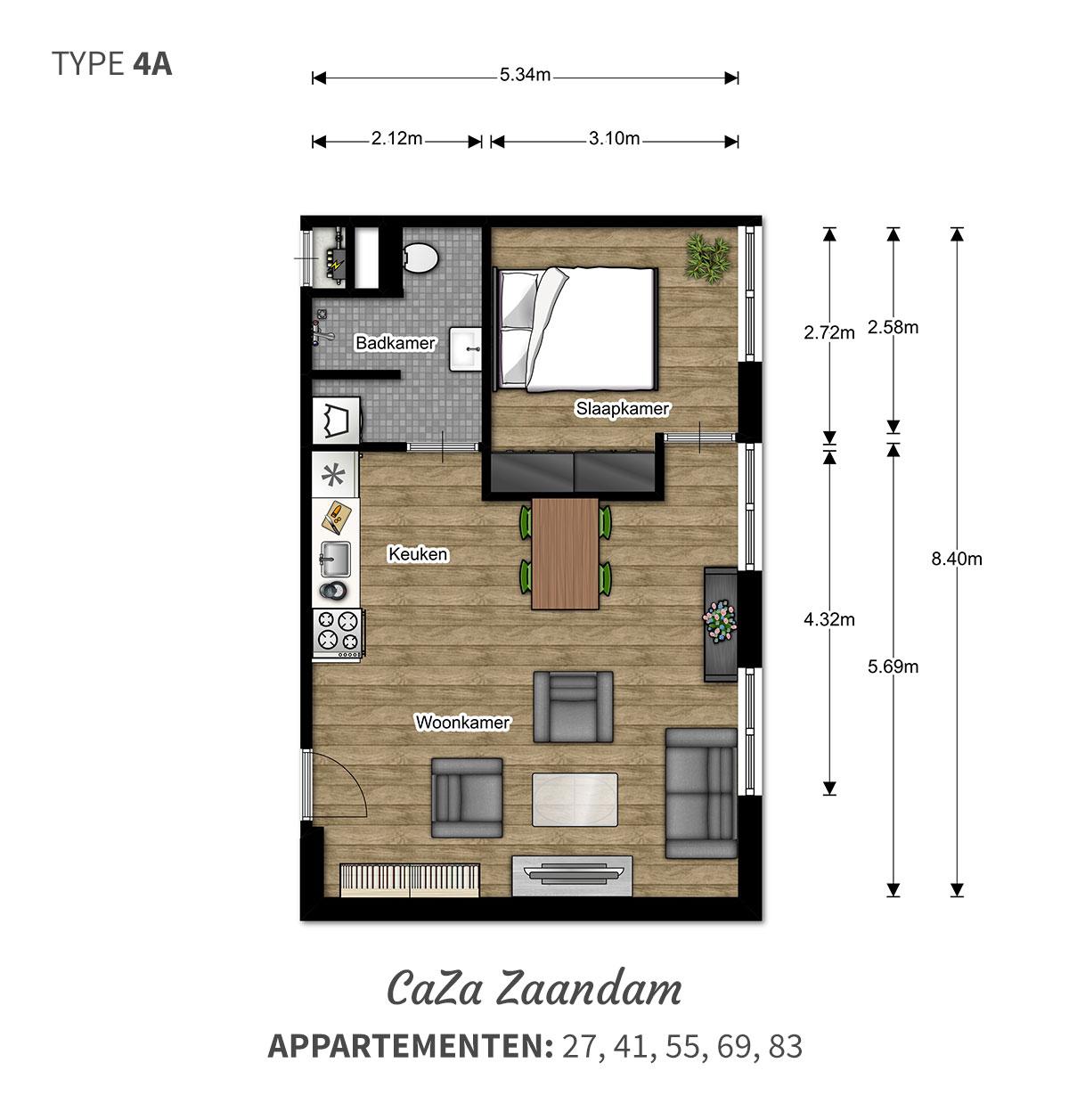 Een ruime woning met prachtig uitzicht  2 kamer comfort