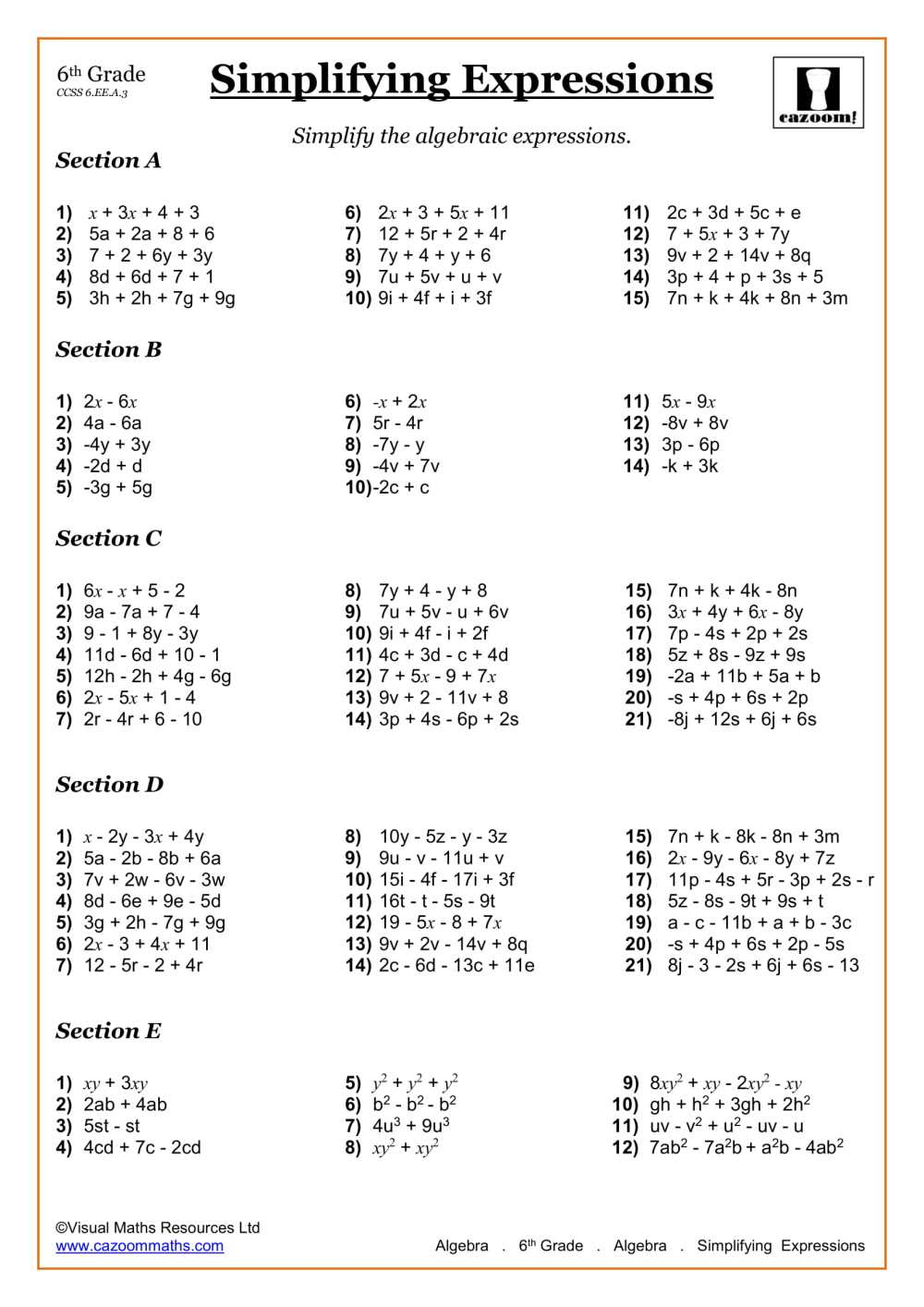 medium resolution of 6th Grade Math Worksheets   Printable PDF Worksheets