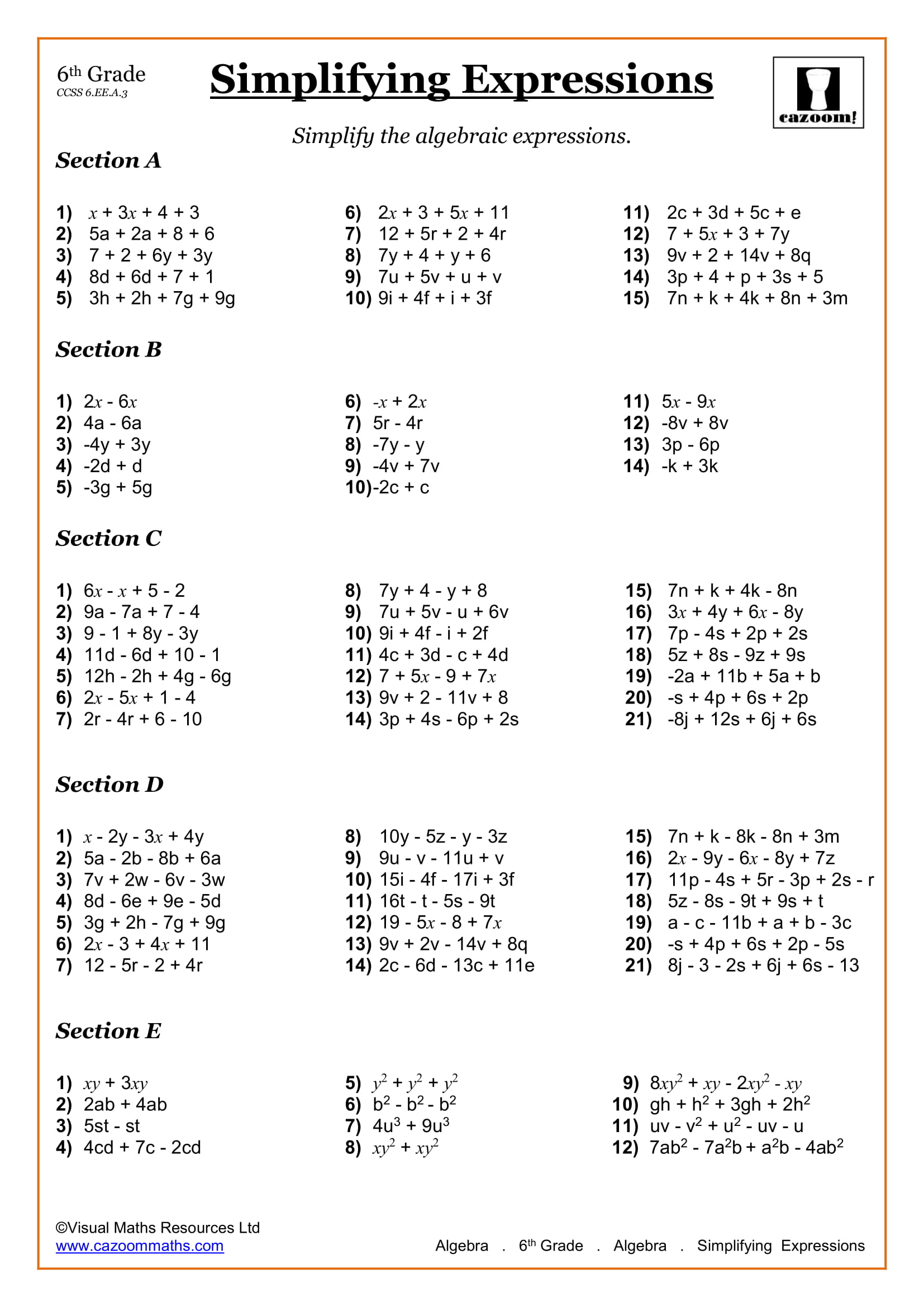 hight resolution of 6th Grade Math Worksheets   Printable PDF Worksheets