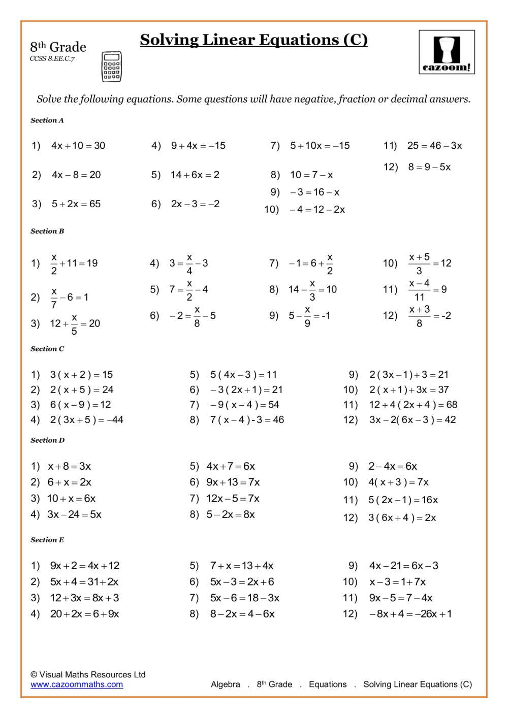 medium resolution of 8th Grade Math Worksheets   Printable PDF Worksheets