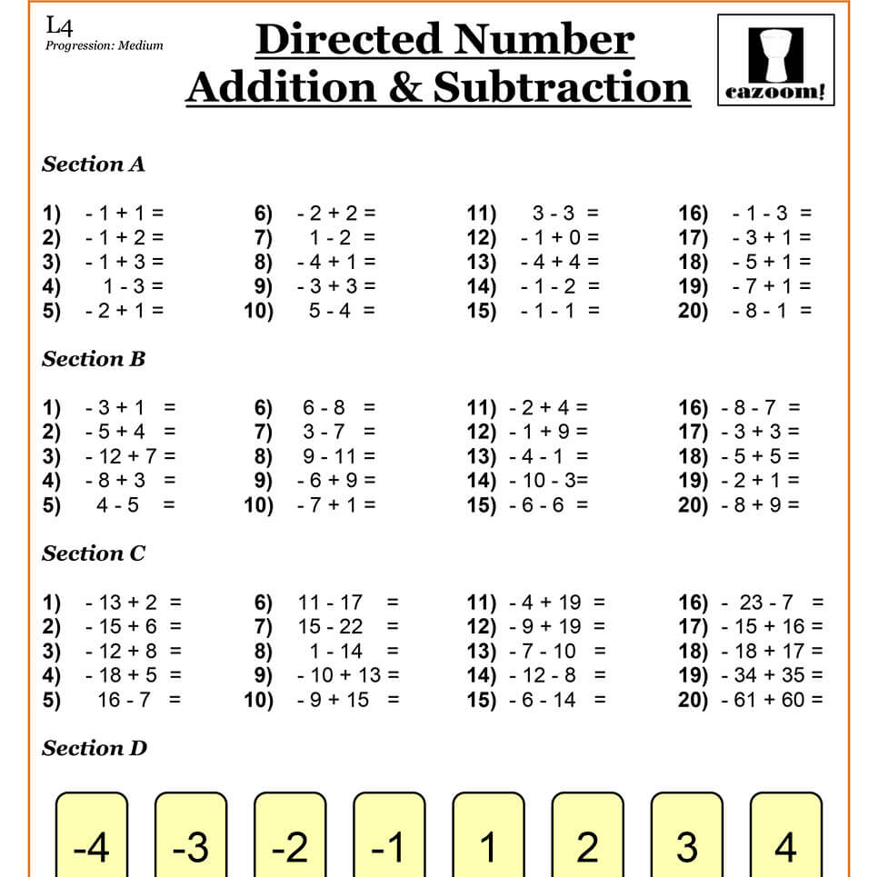 Directed Numbers Worksheet Year 7 Rcnschool
