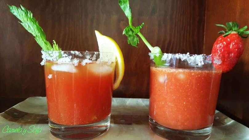 Blody Mary con, sin alcohol y de fresa
