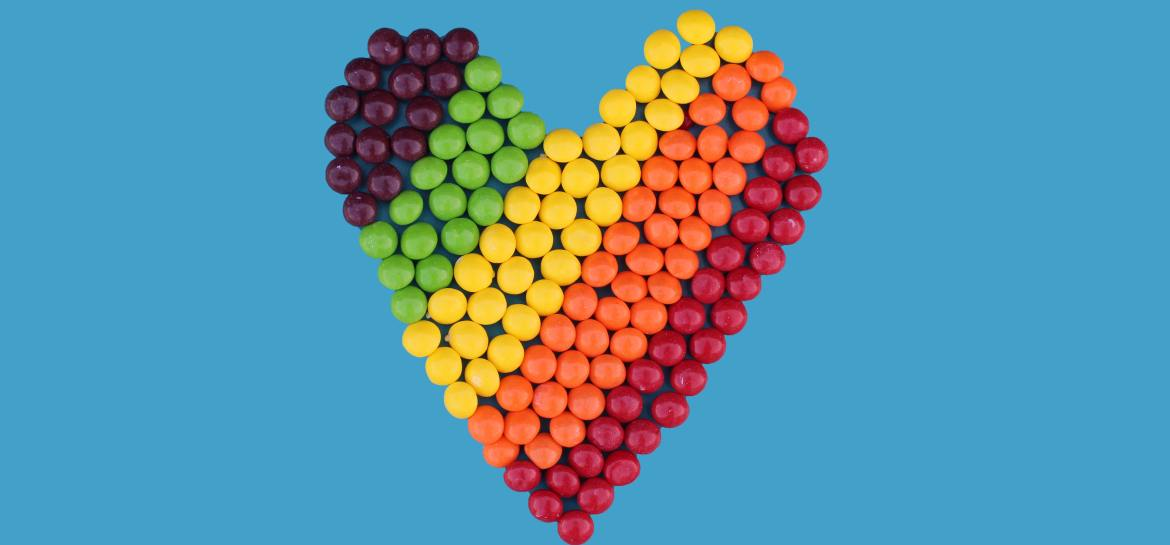Skittles sweets made into a heart shape