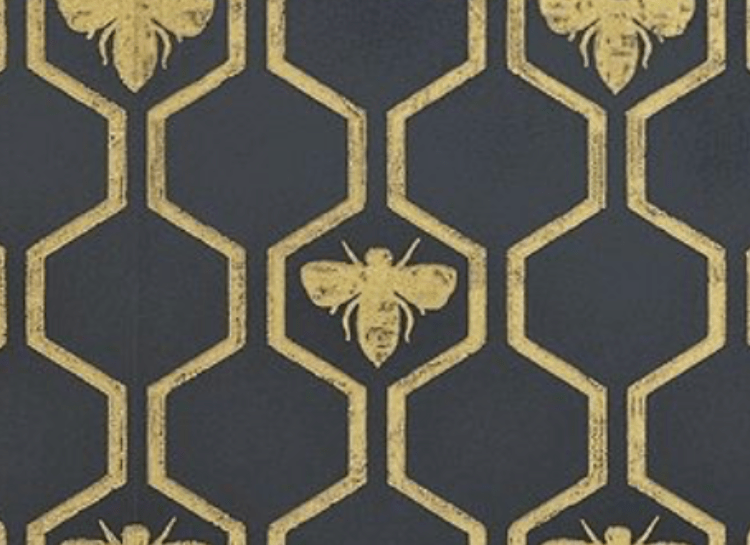 Black background, gold bee hive pattern