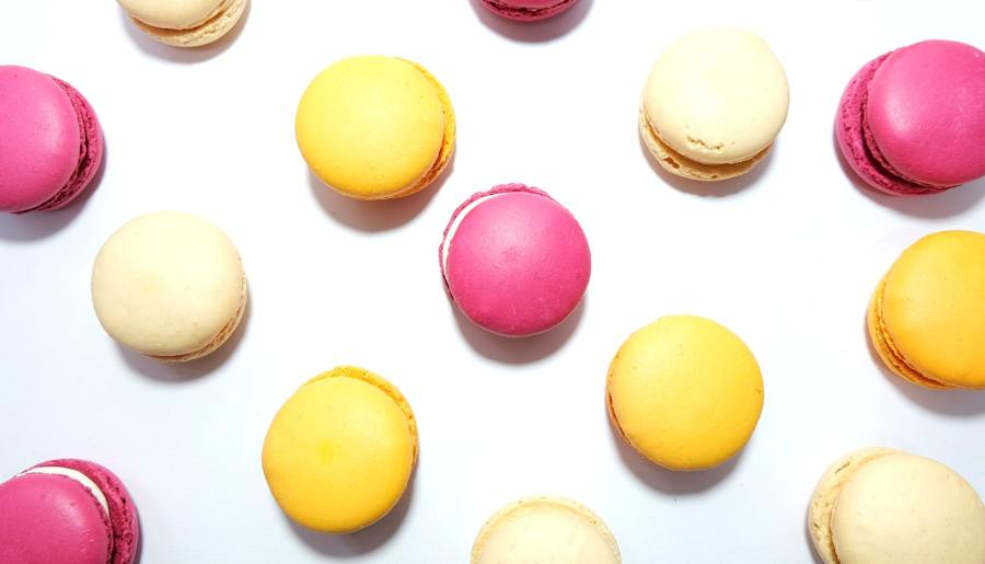 Pink and yellow macaroons