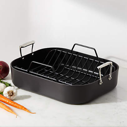 all clad ha1 hard anodized nonstick 16 5 roaster with rack