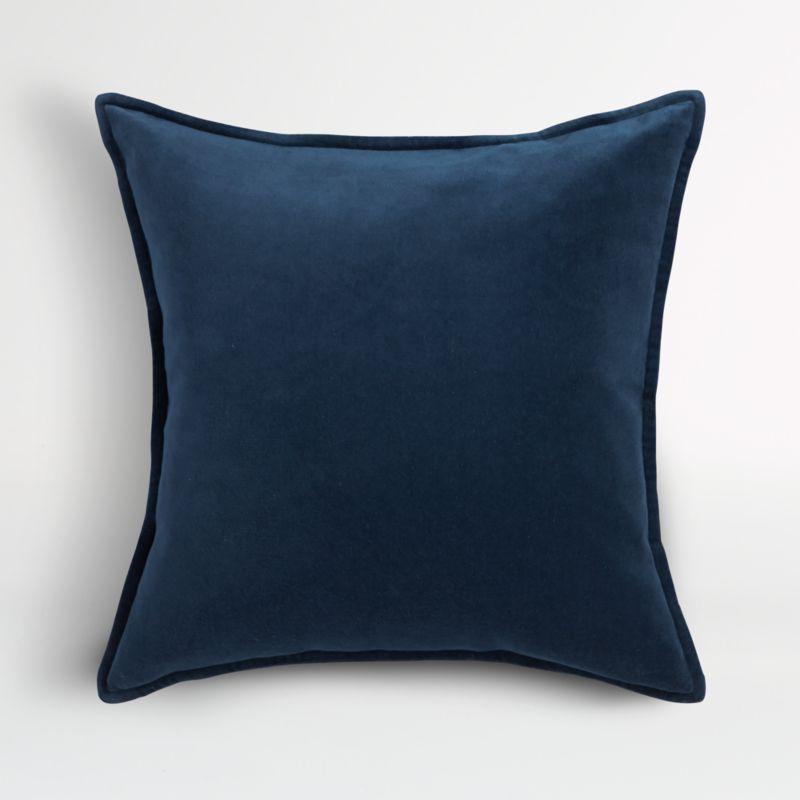 brenner indigo blue velvet pillow cover 20 reviews crate and barrel