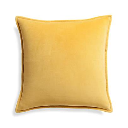 mustard yellow velvet pillow crate