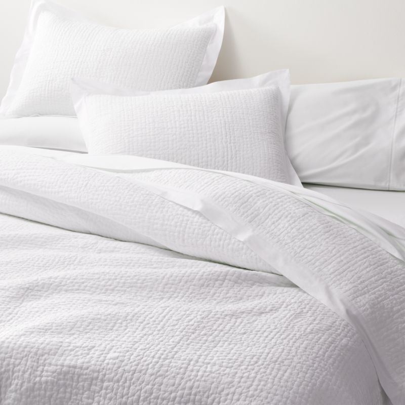 celeste white solid quilts and pillow shams crate and barrel
