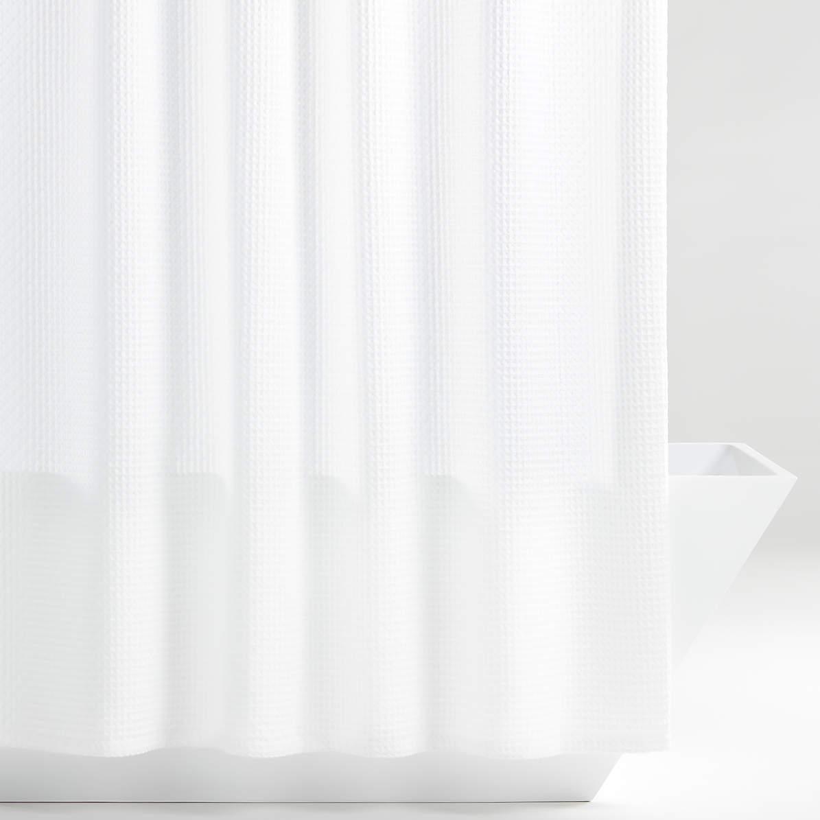 organic cotton waffle white shower curtain