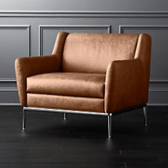Leather Accent Chairs For Bad Backs Modern And Armchairs Cb2 Alfred Cognac Chair